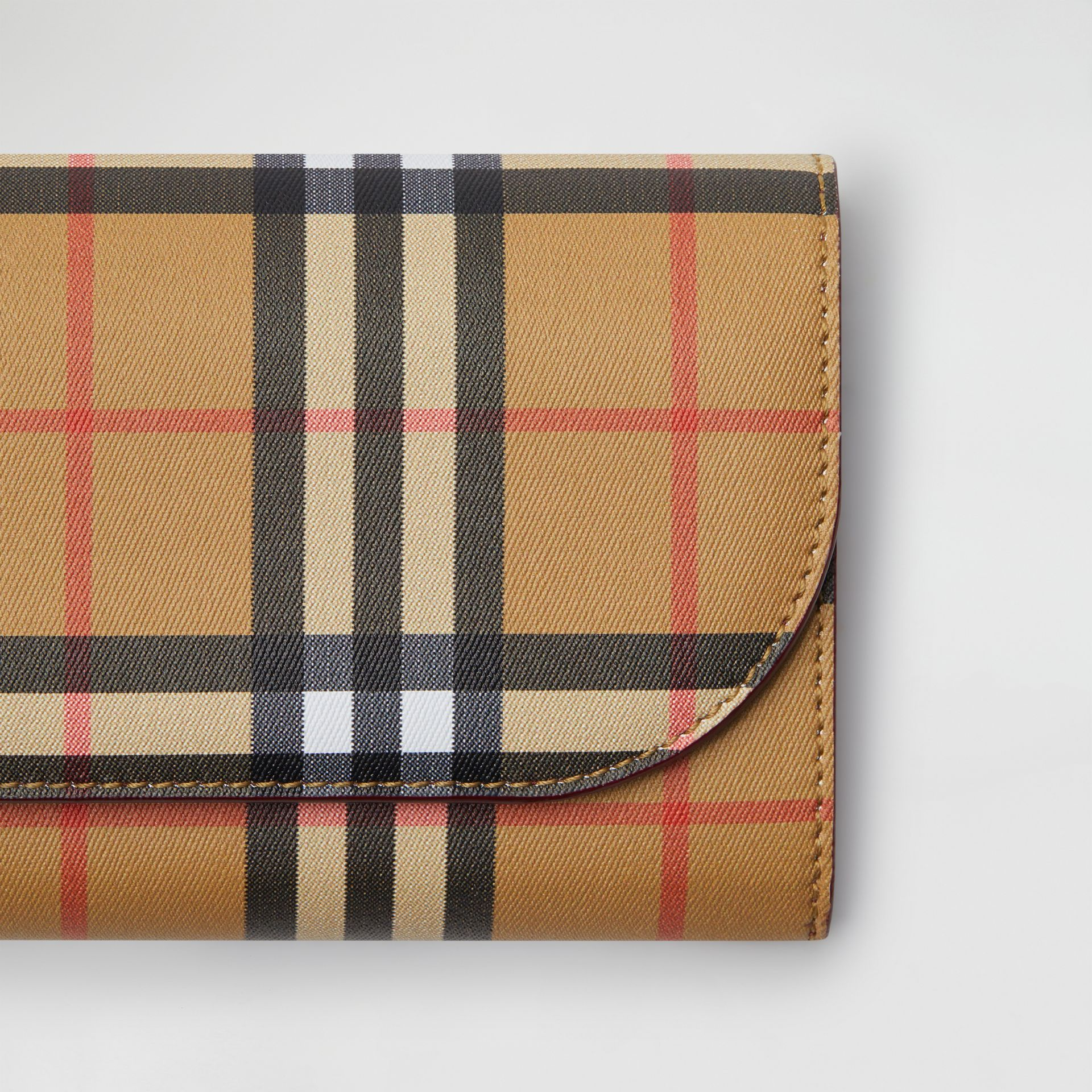 Vintage Check and Leather Wallet with Detachable Strap in Crimson - Women | Burberry Australia - gallery image 1