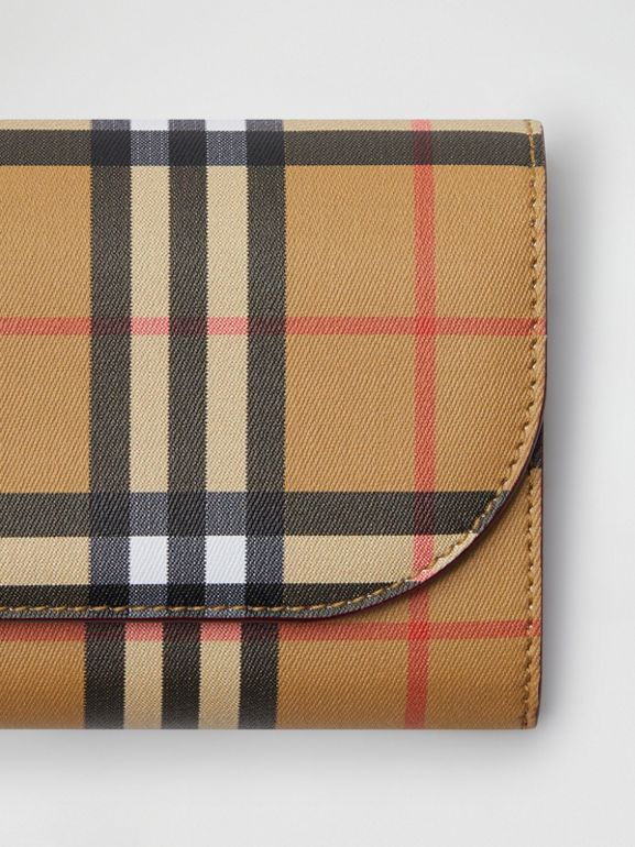 Vintage Check and Leather Wallet with Detachable Strap in Crimson - Women | Burberry Hong Kong S.A.R - cell image 1
