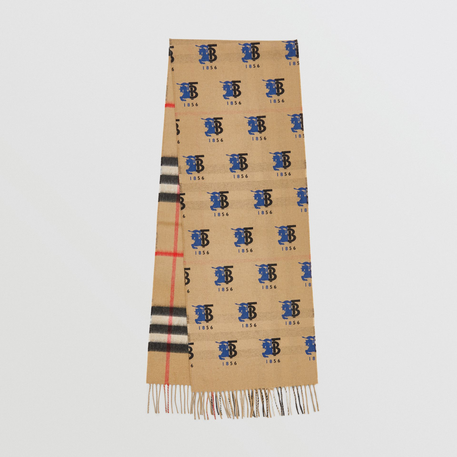 Contrast Logo Graphic Check Cashmere Scarf in Blue | Burberry - gallery image 0