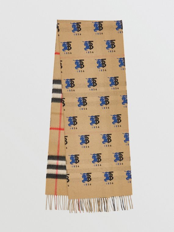 Contrast Logo Graphic Check Cashmere Scarf in Blue