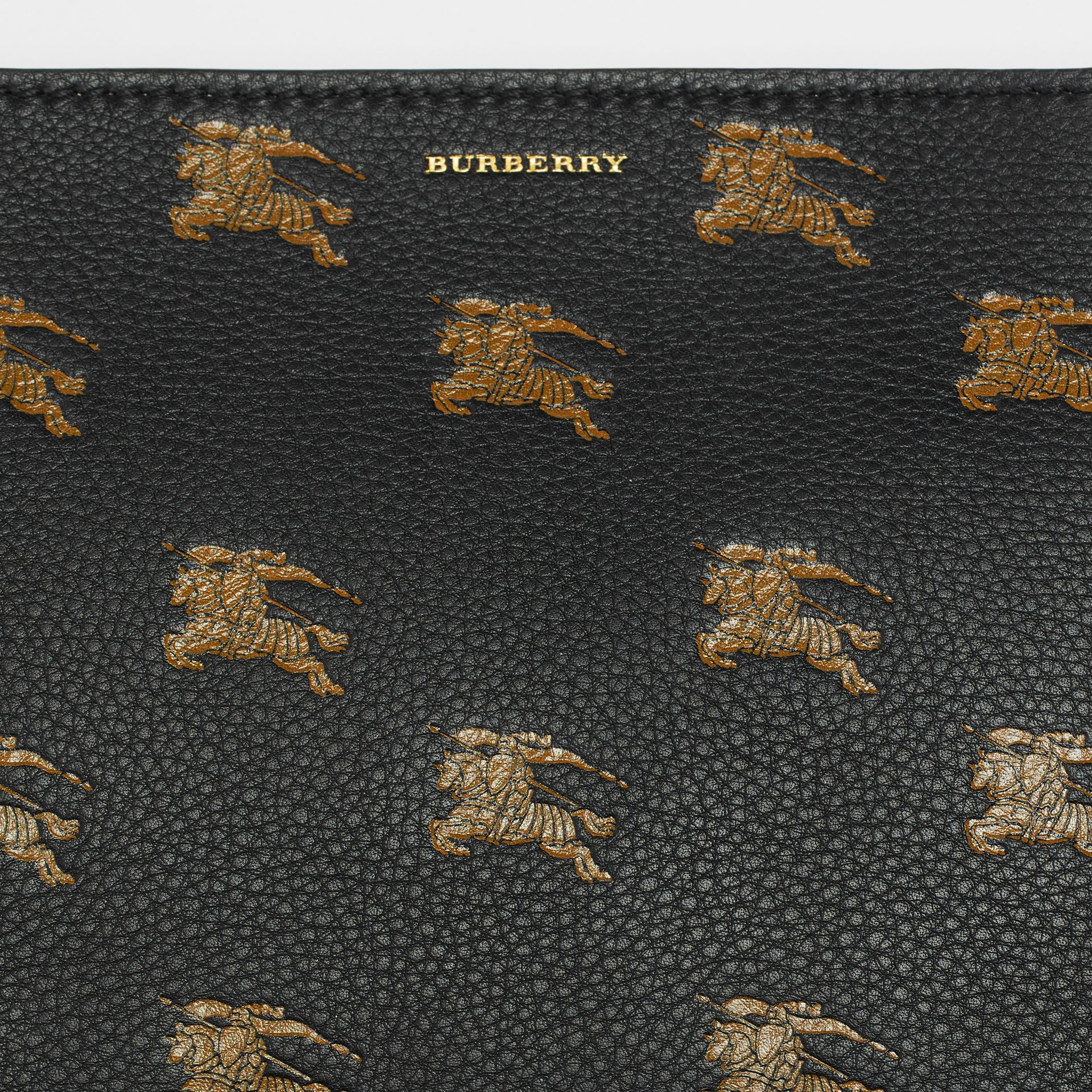 Medium Equestrian Knight Leather Clutch in Black - Women | Burberry - gallery image 1