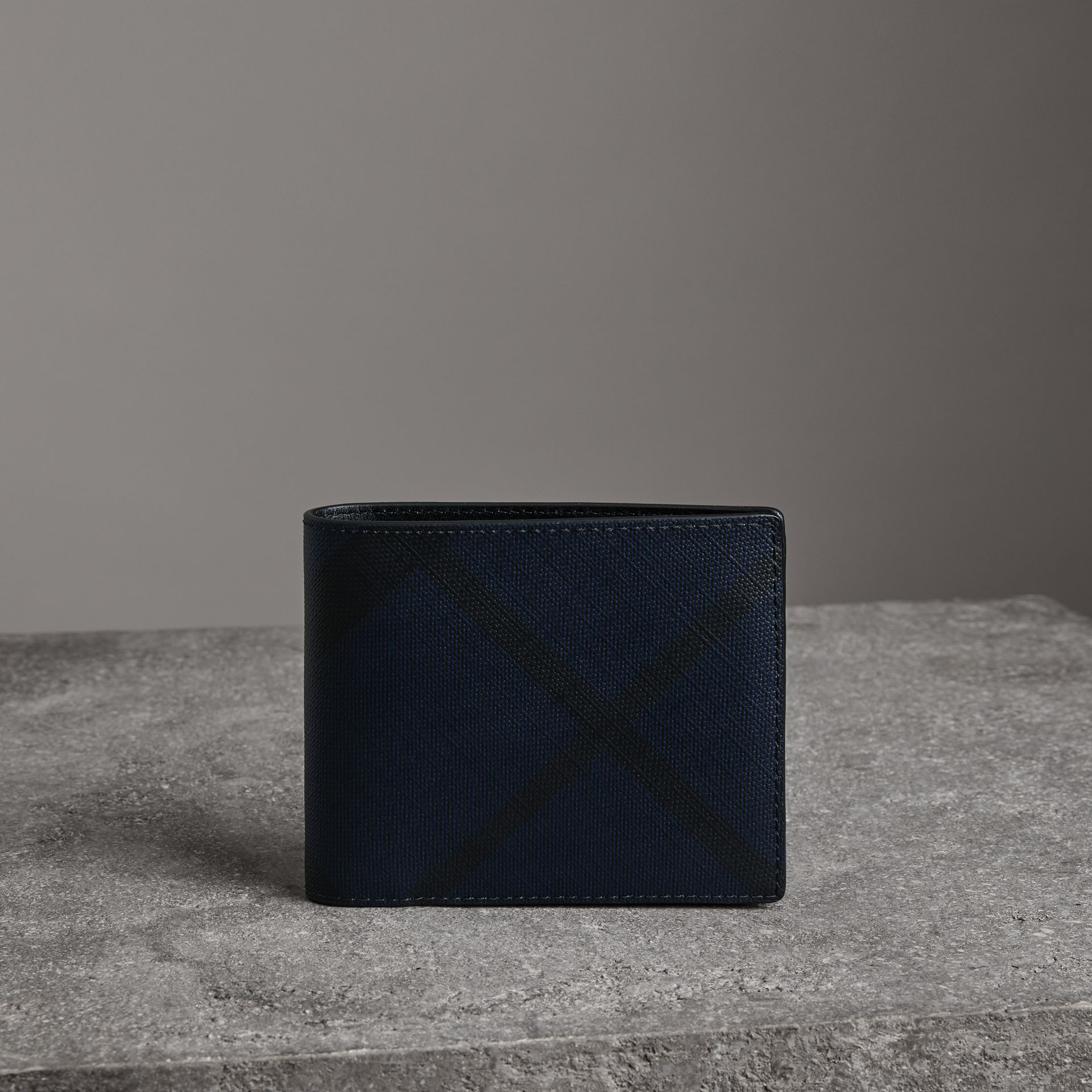London Check Bifold Wallet with Removable Card Case in Navy/black - Men | Burberry - gallery image 0