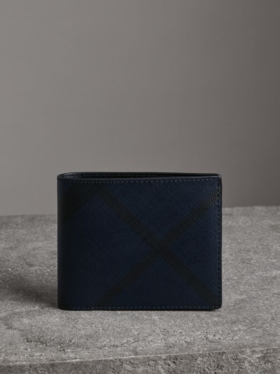 London Check Bifold Wallet with Removable Card Case in Navy/black
