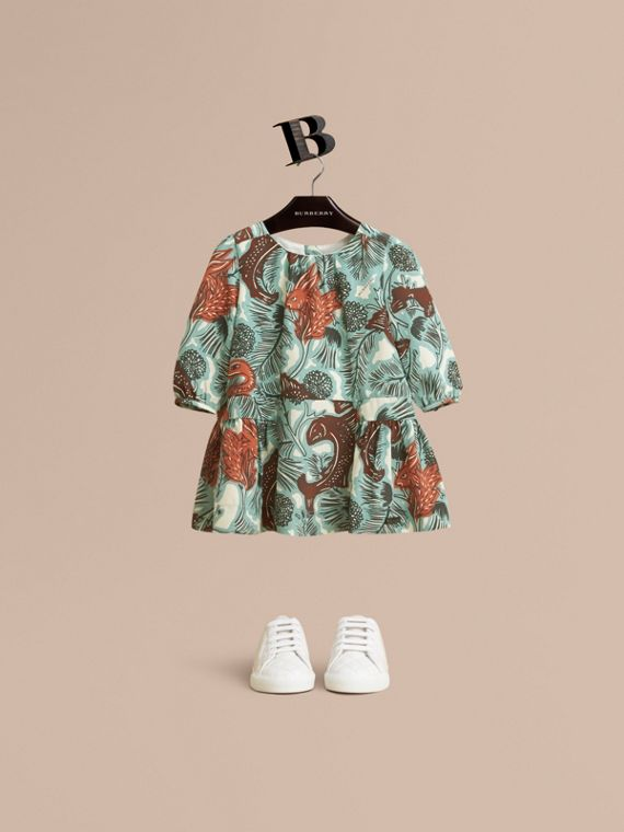 Beasts Print Silk Gathered Dress | Burberry
