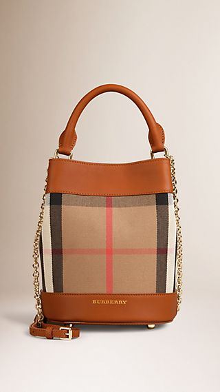 The Small Bucket Bag in House Check and Leather