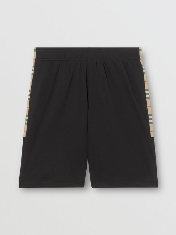 Vintage Check Trim Technical Twill Shorts in Black