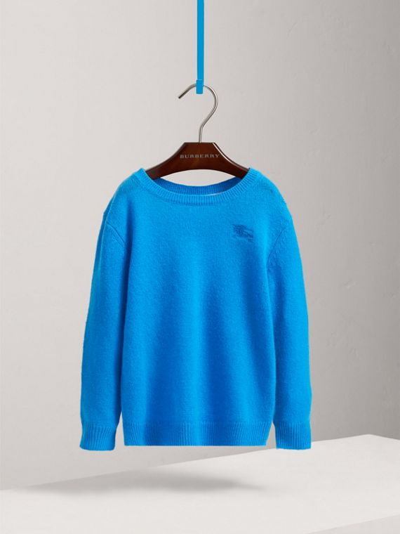 Check Elbow Patch Cashmere Sweater in Cyan Blue