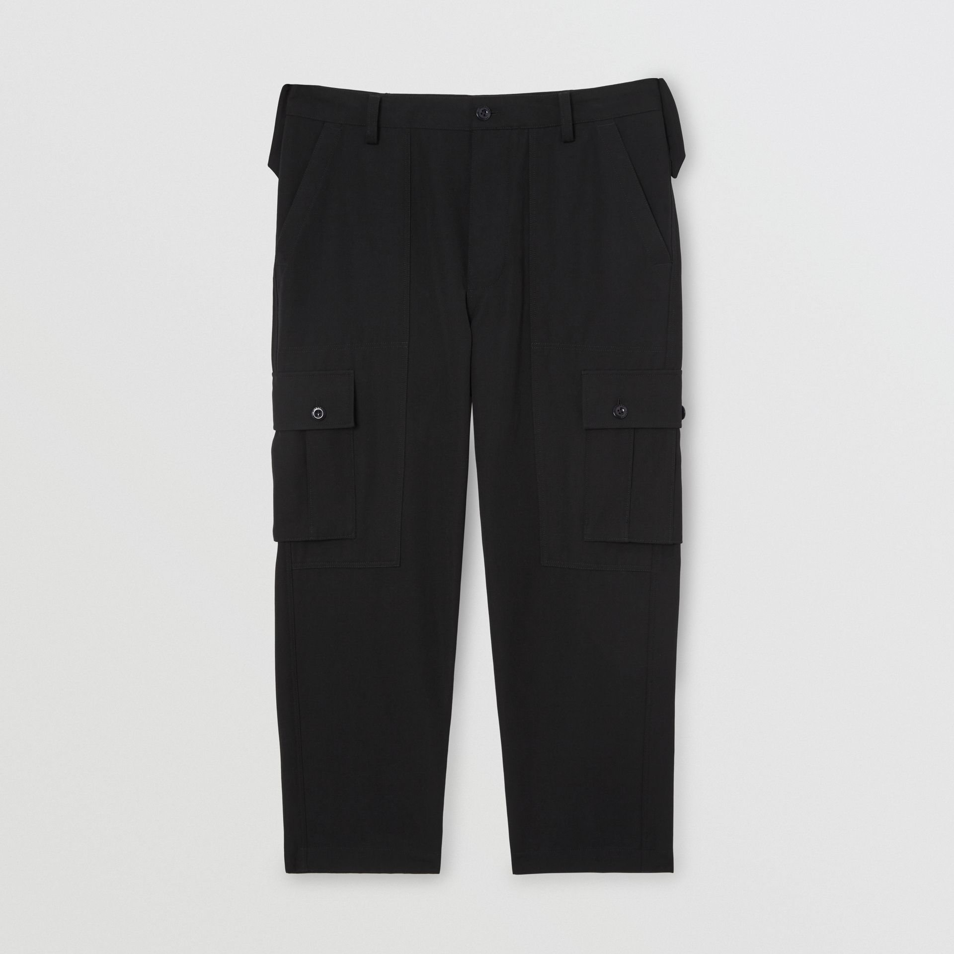 Cotton Wool Blend Cropped Cargo Trousers in Black - Men | Burberry - gallery image 3