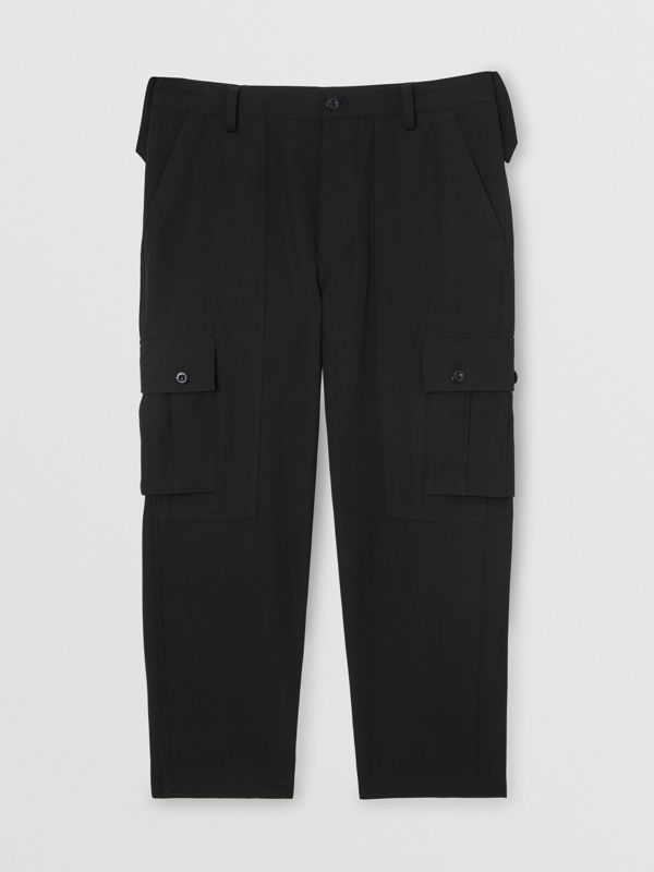 Cotton Wool Blend Cropped Cargo Trousers in Black - Men | Burberry Hong Kong - cell image 3