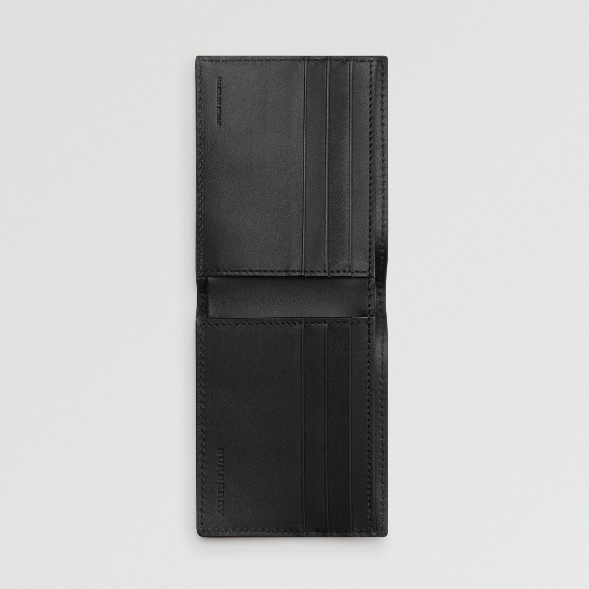 Grainy Leather Bifold Wallet in Black - Men | Burberry Australia - gallery image 2