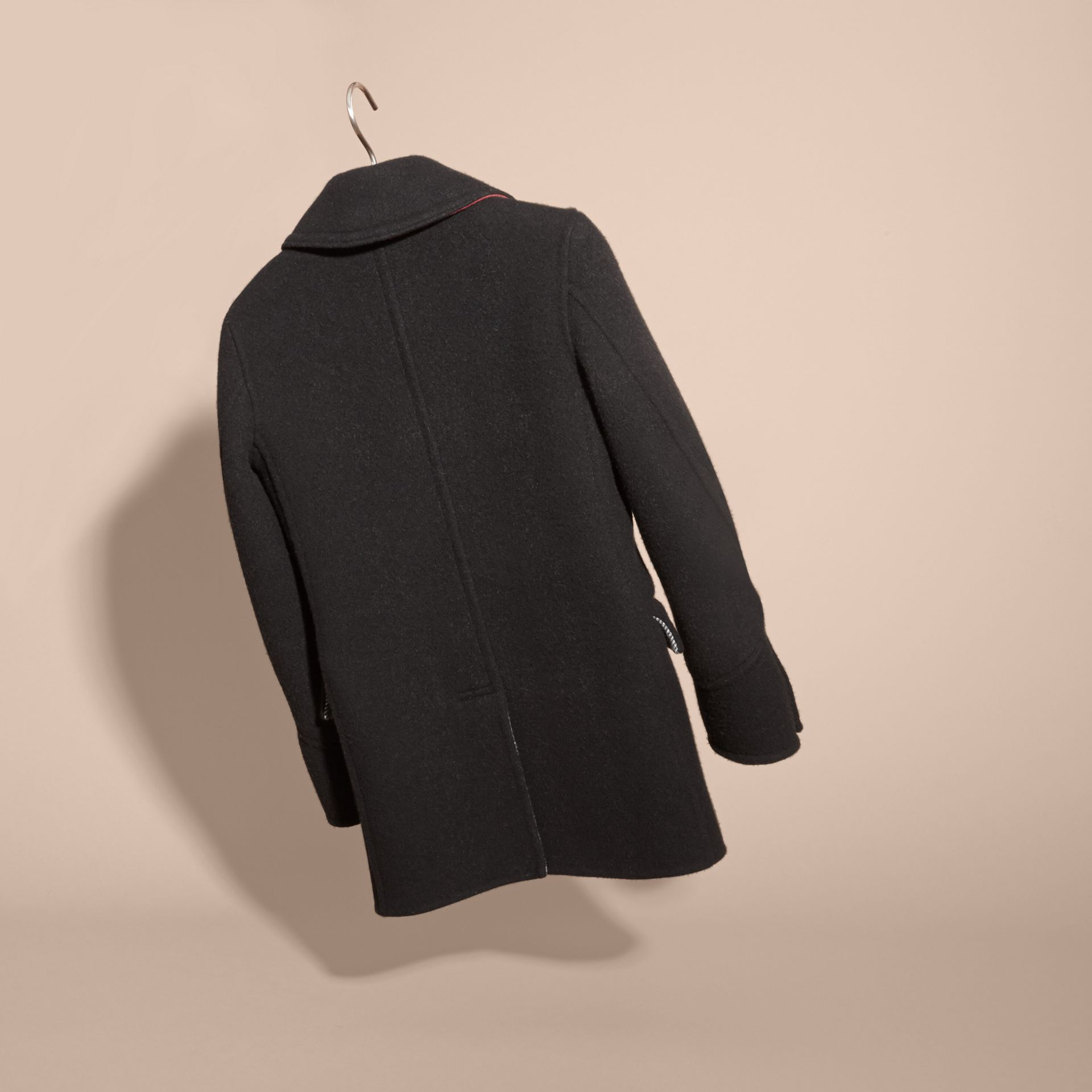 Black Military Wool Cashmere Pea Coat - gallery image 4