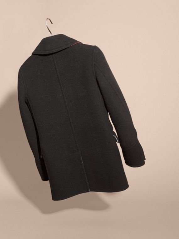Black Military Wool Cashmere Pea Coat - cell image 3