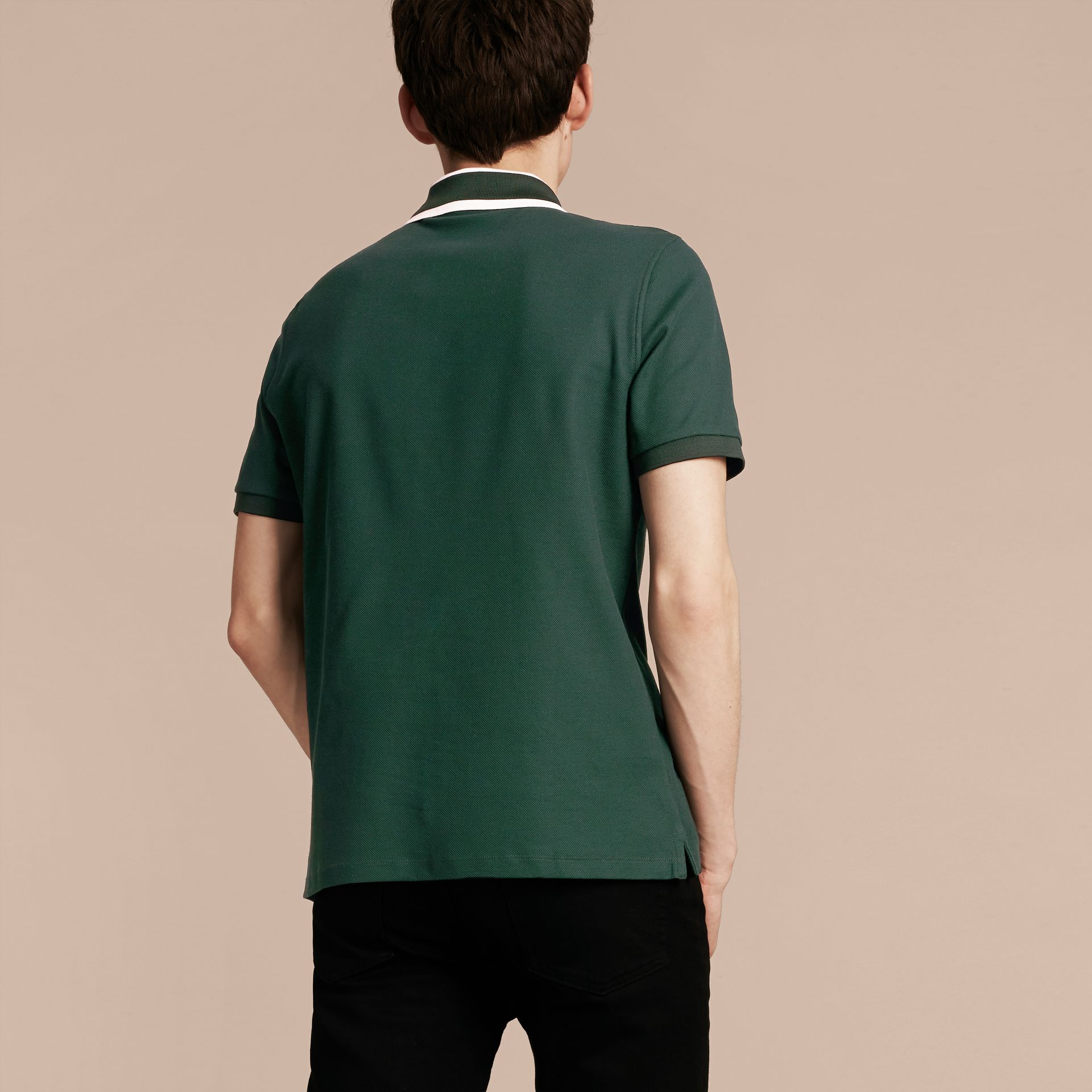 Racing green Striped Collar Cotton Piqué Polo Shirt Racing Green - gallery image 3