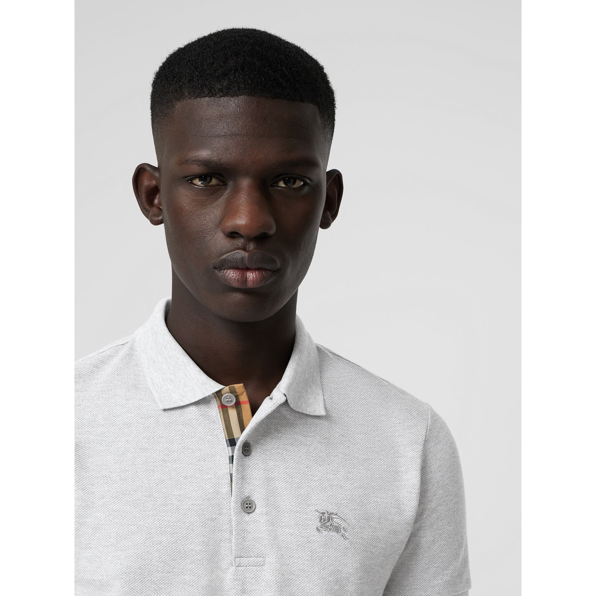 Check Placket Cotton Polo Shirt in Pale Grey Melange - Men | Burberry United Kingdom - gallery image 0
