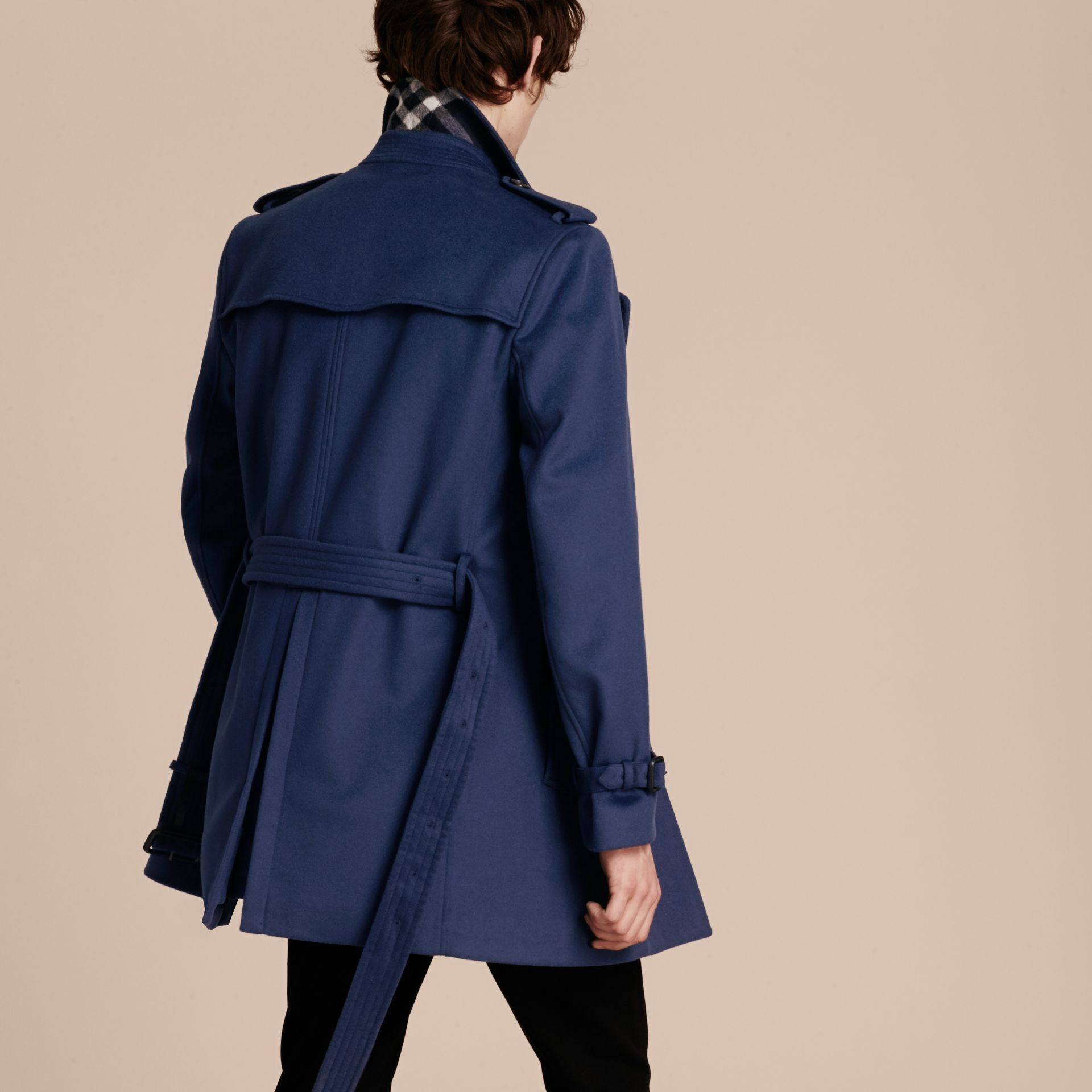 Bright steel blue Wool Cashmere Trench Coat - gallery image 3