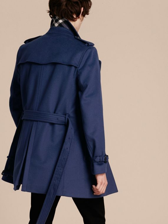 Bright steel blue Wool Cashmere Trench Coat - cell image 2