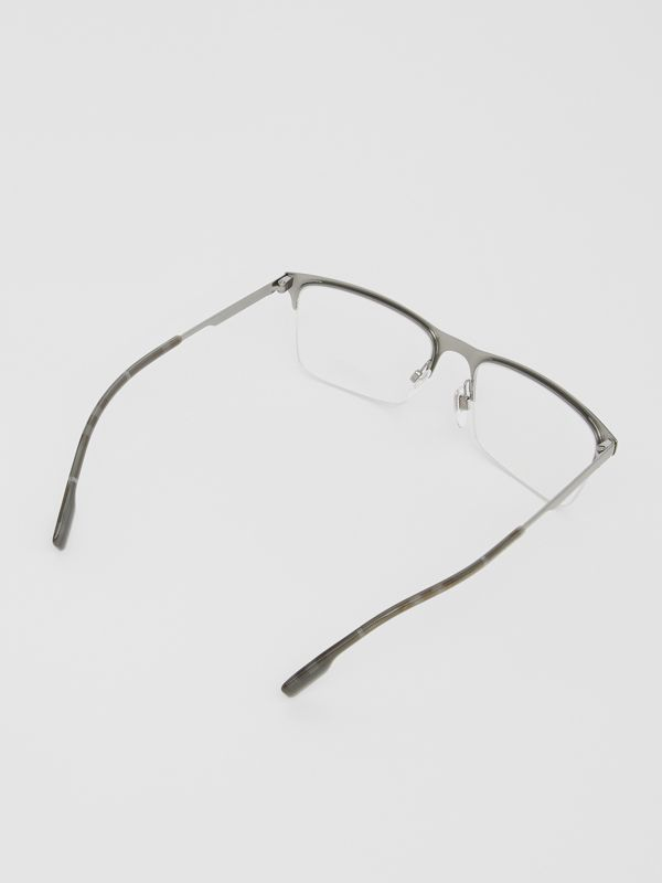 Rectangular Optical Frames in Gunmetal Grey - Men | Burberry United Kingdom - cell image 3