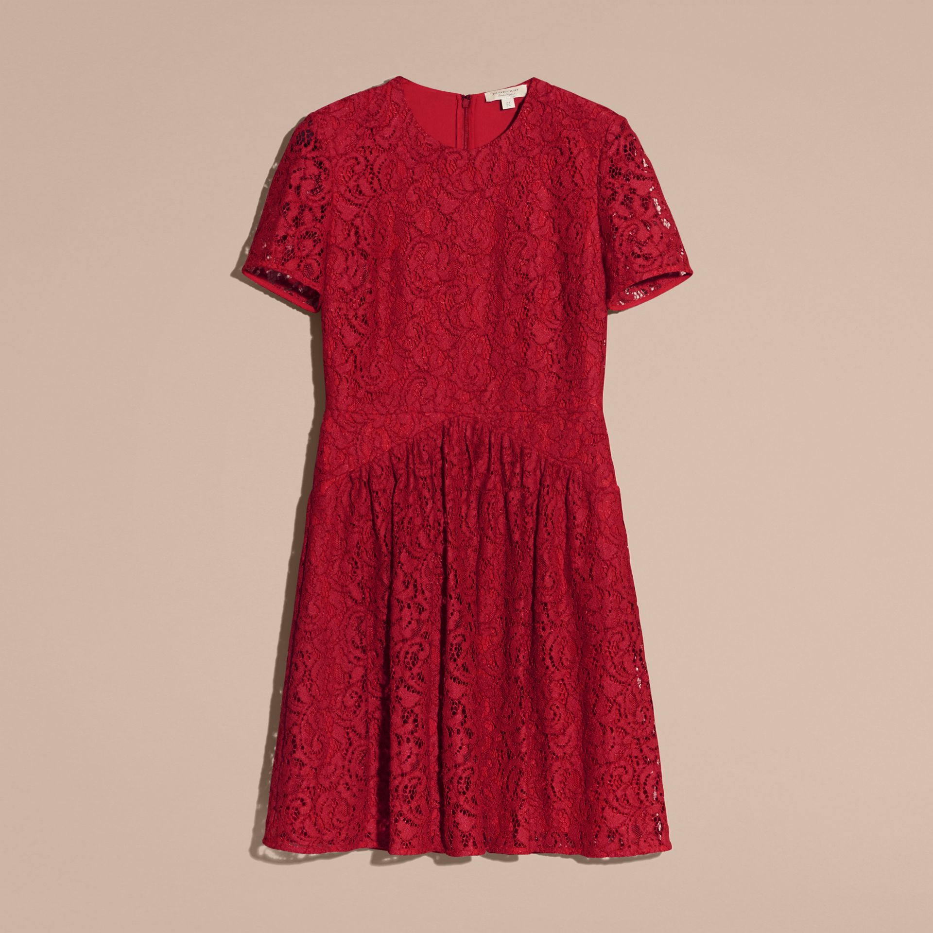 Fit-and-flare Dropped-waist Lace Dress in Parade Red - gallery image 4