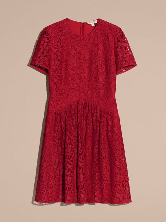 Fit-and-flare Dropped-waist Lace Dress in Parade Red - cell image 3