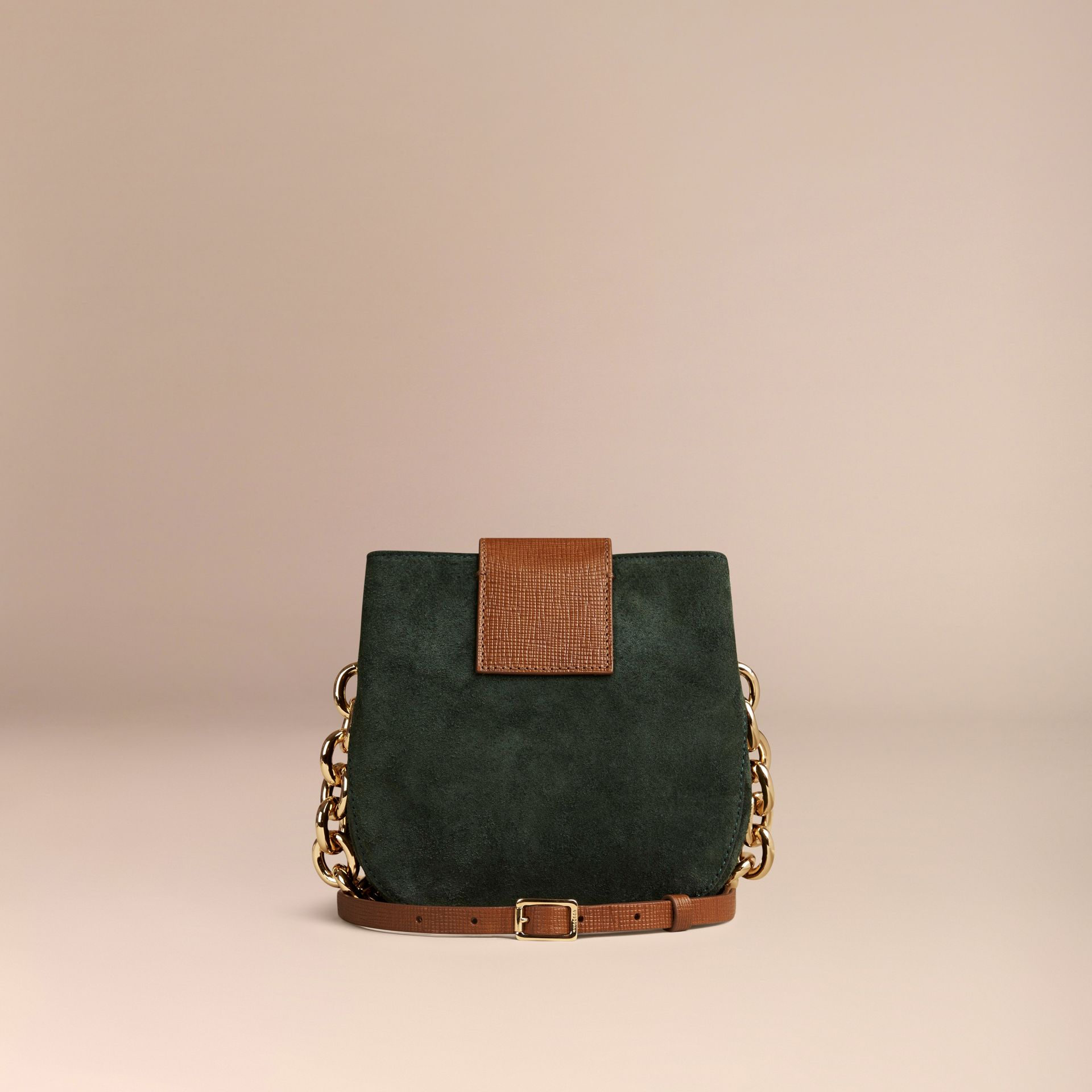 Dark forest green The Small Square Buckle Bag in Suede and Leather Dark Forest Green - gallery image 4