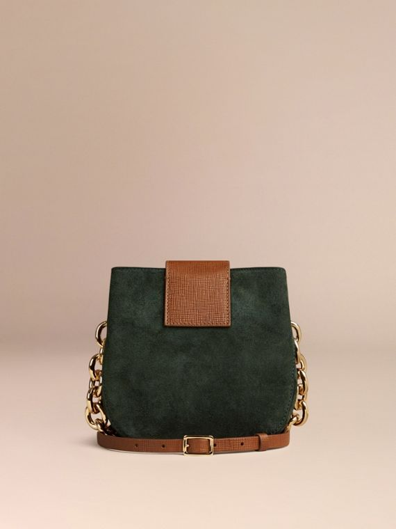Dark forest green The Small Square Buckle Bag in Suede and Leather Dark Forest Green - cell image 3