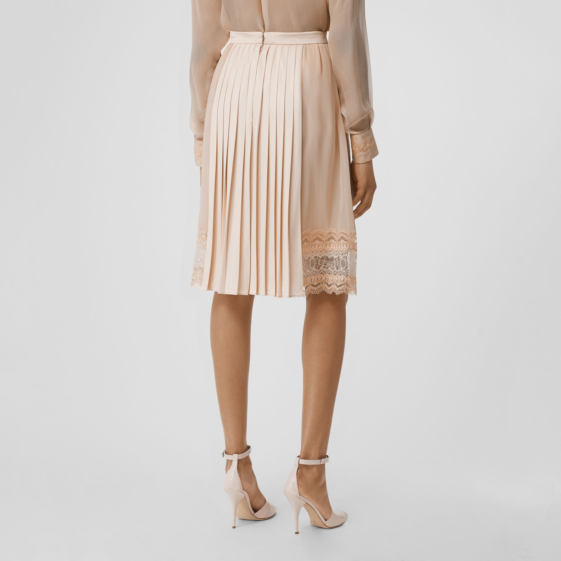 Lace Detail Silk Panel Pleated Skirt in Soft Peach - Women | Burberry - gallery image 4