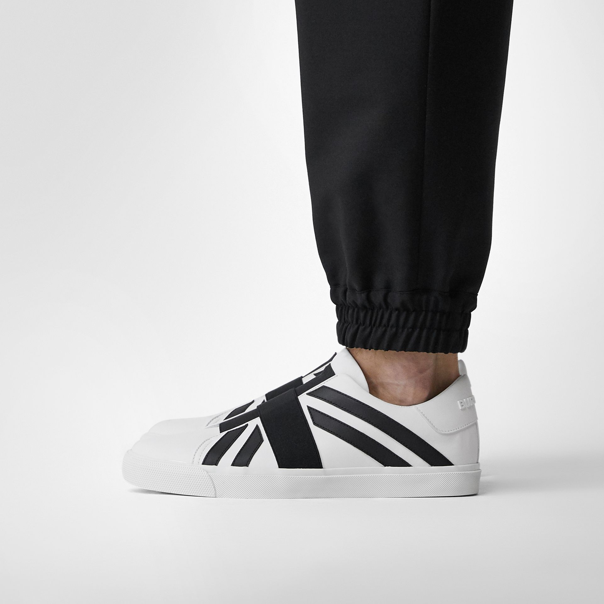 Union Jack Motif Slip-on Sneakers in White - Men | Burberry - gallery image 2