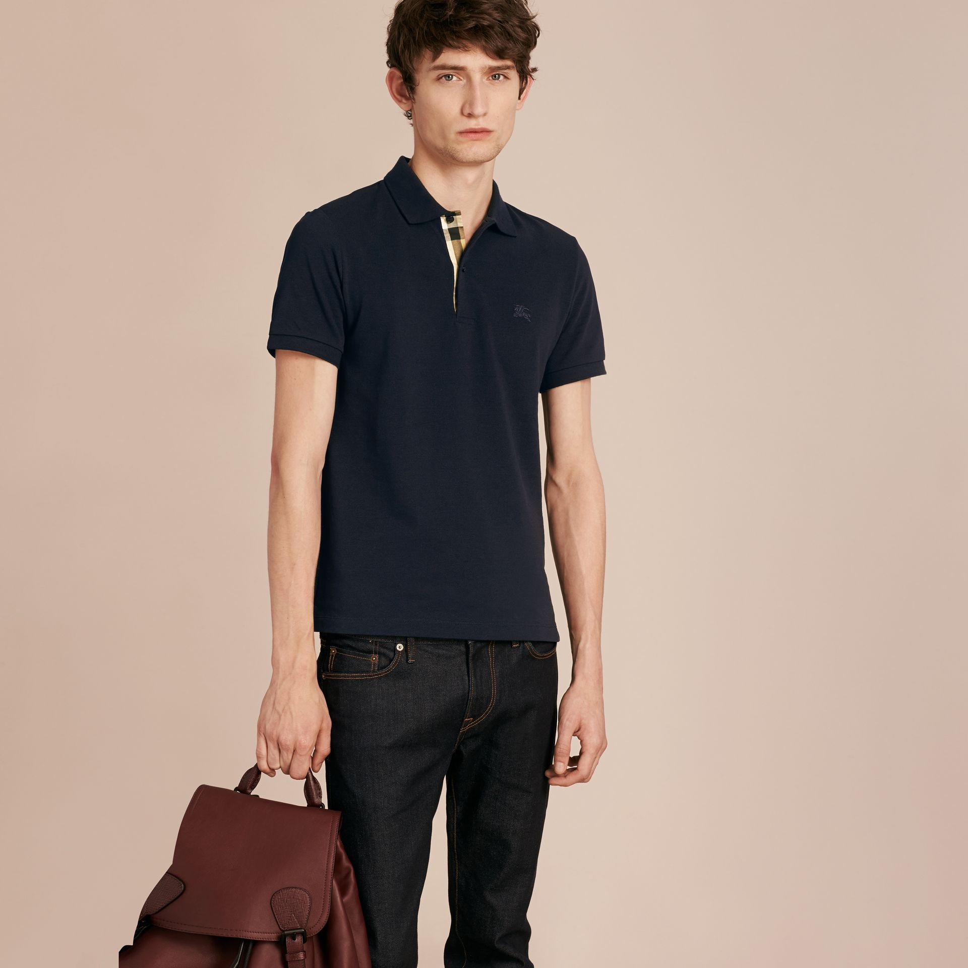 Check Placket Cotton Piqué Polo Shirt Dark Navy - gallery image 6