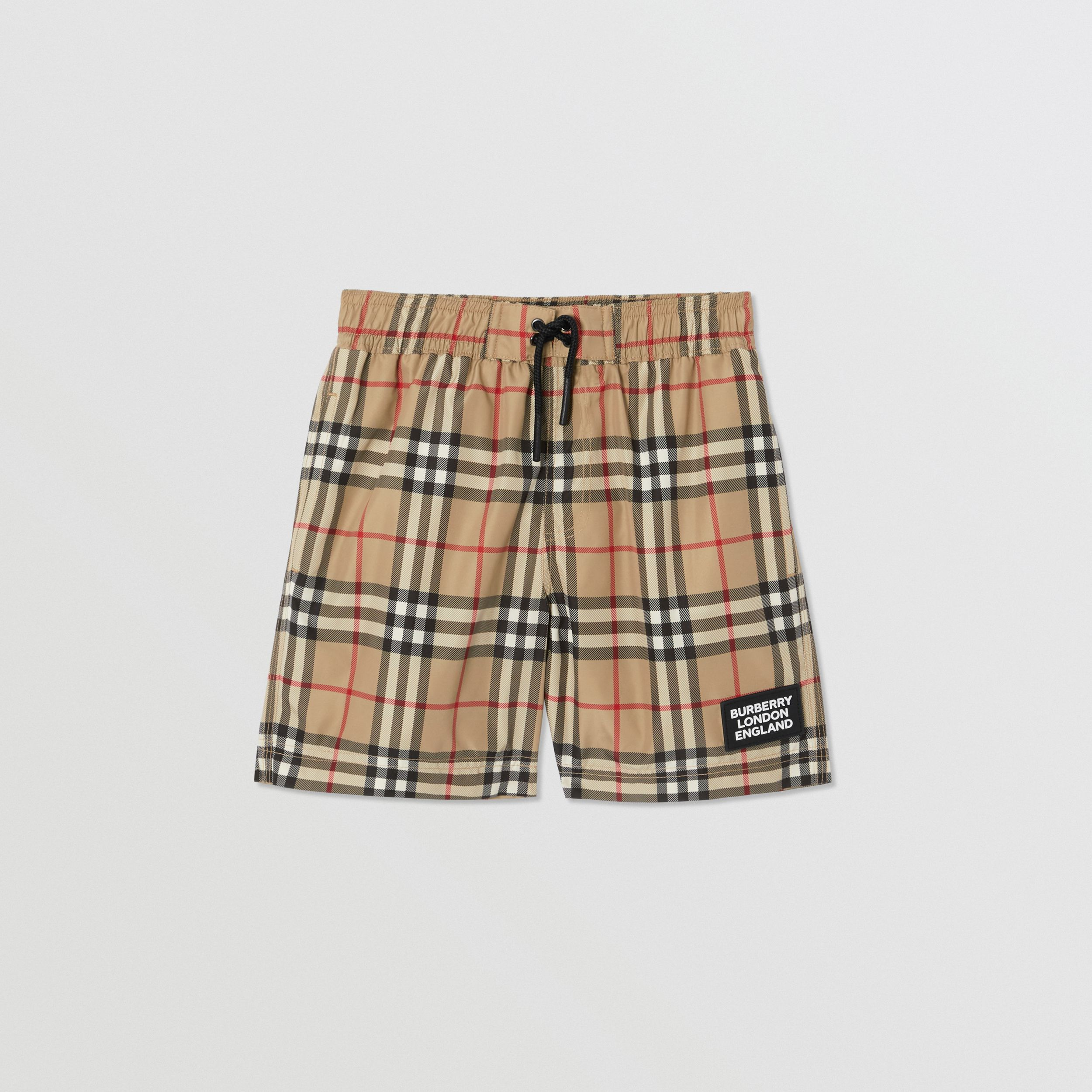 Logo Appliqué Vintage Check Swim Shorts in Archive Beige | Burberry - 1