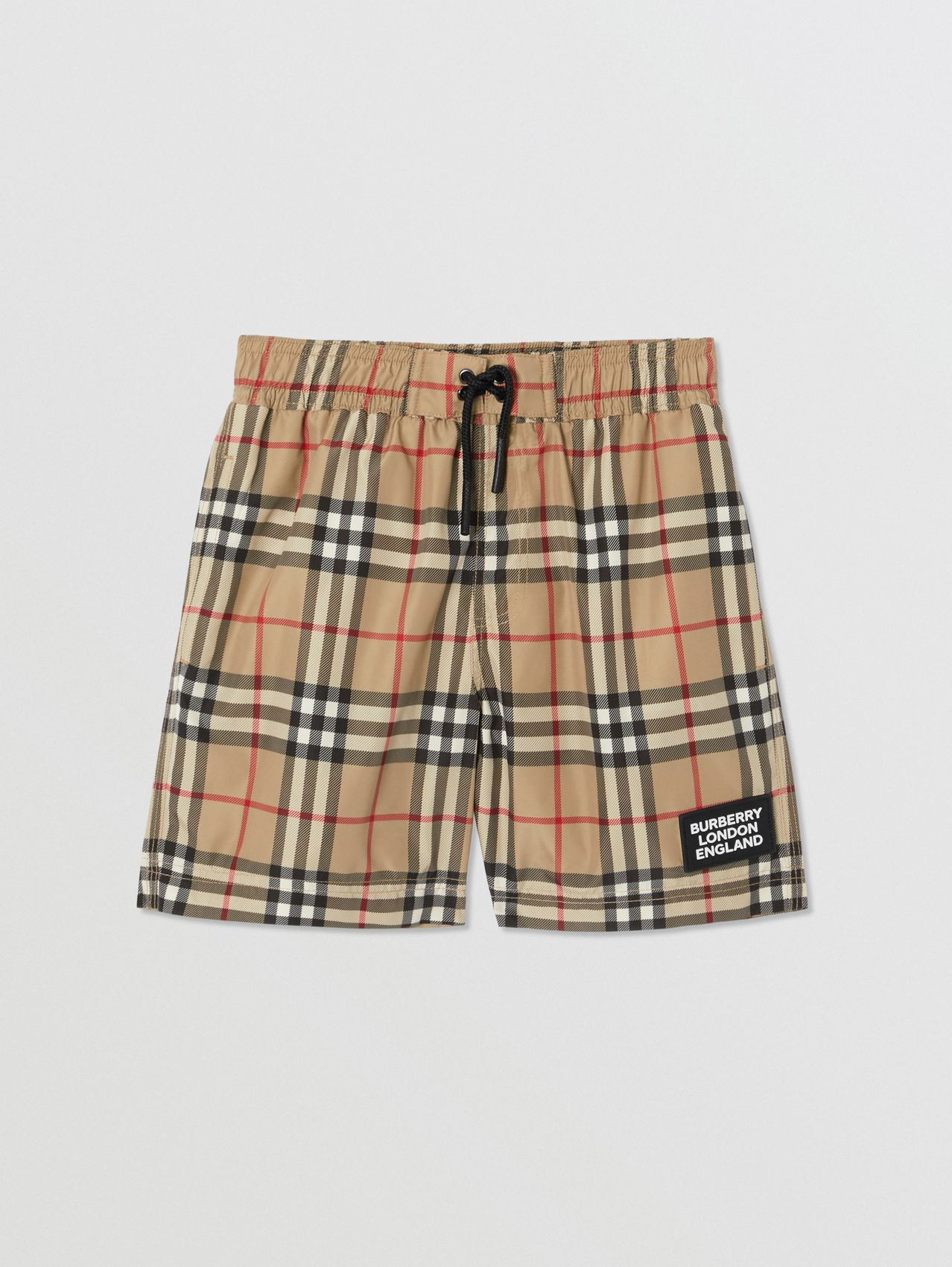Logo Appliqué Vintage Check Swim Shorts (Archive Beige)