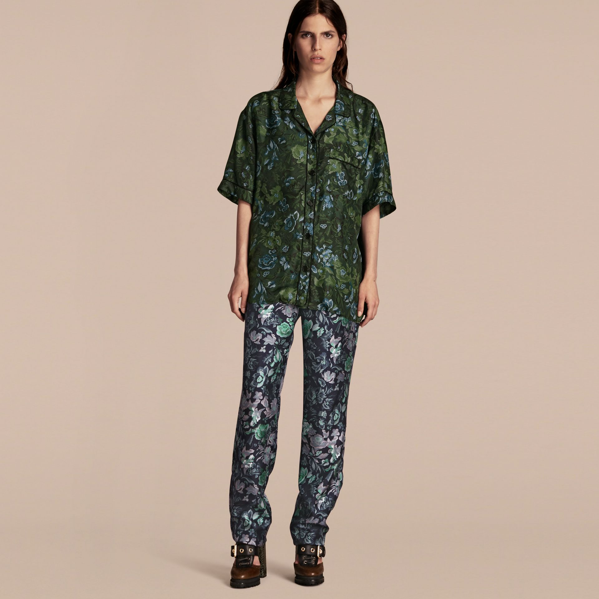Navy Floral Print Silk Twill Pyjama-style Trousers - gallery image 6