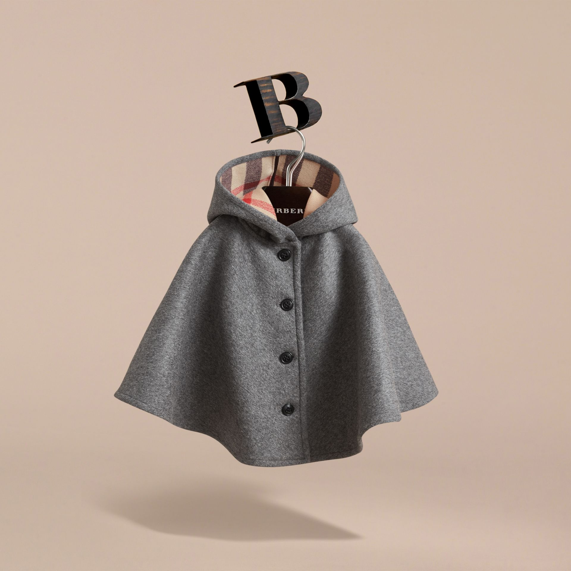 Hooded Check Detail Wool A-line Cape in Mid Grey Melange - Girl | Burberry - gallery image 3