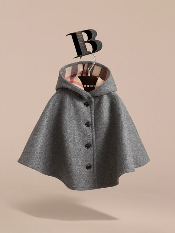Hooded Check Detail Wool A-line Cape in Mid Grey Melange - Girl | Burberry - cell image 2