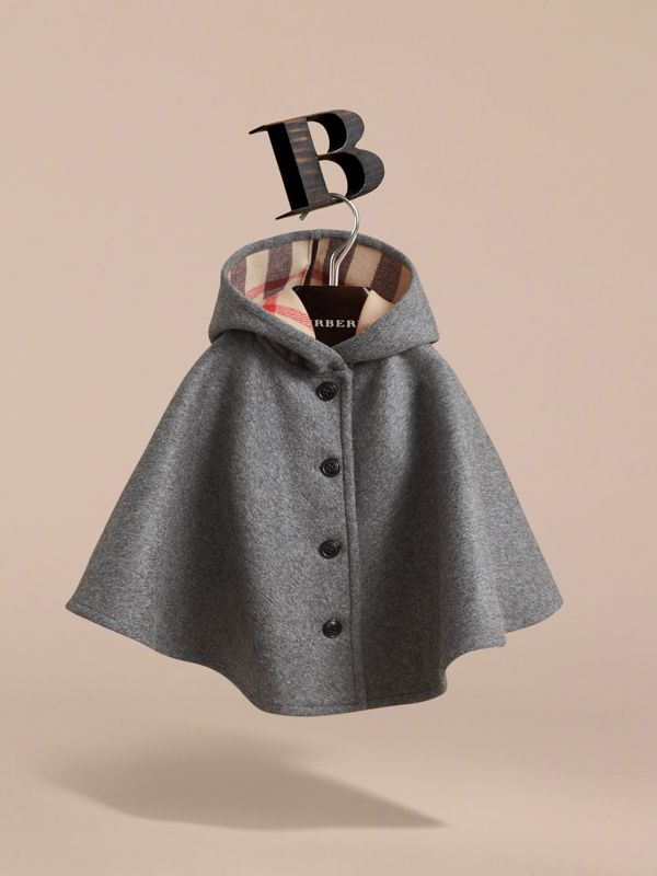 Hooded Check Detail Wool A-line Cape in Mid Grey Melange | Burberry United States - cell image 2