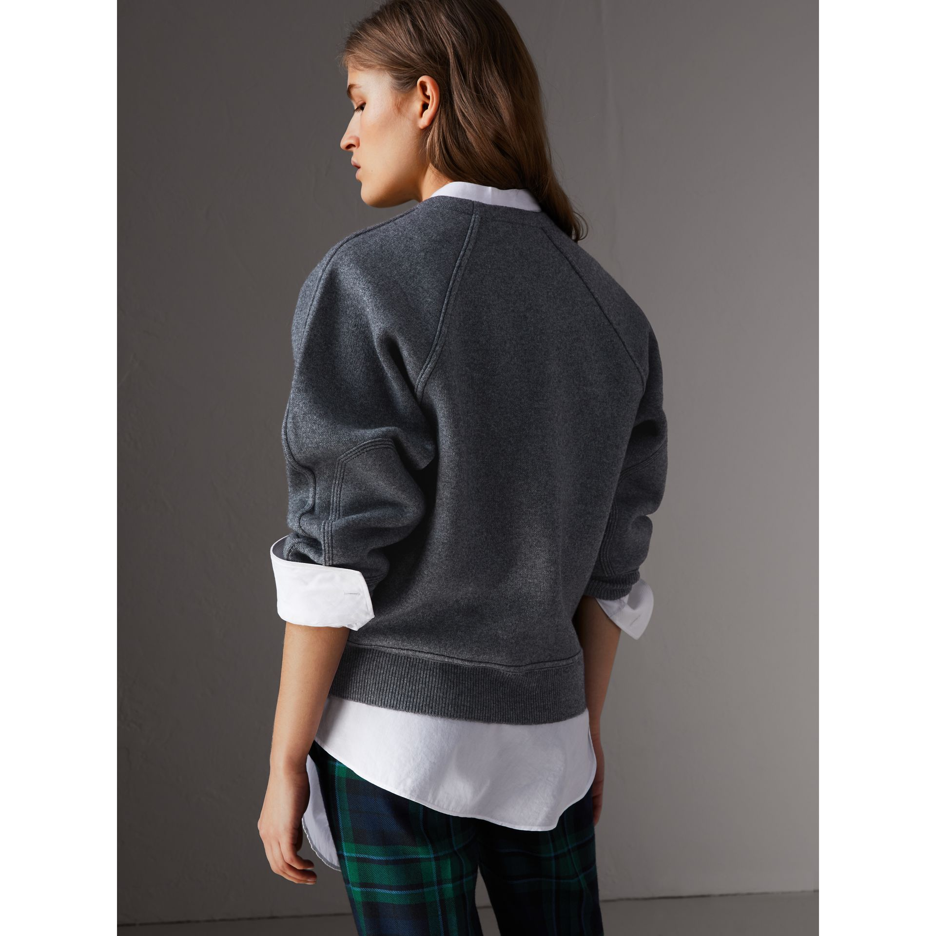 Topstitch Detail Wool Cashmere Blend Sweater in Mid Grey Melange - Women | Burberry - gallery image 3