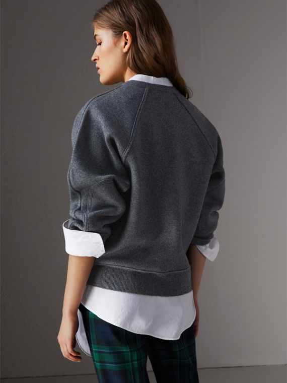 Topstitch Detail Wool Cashmere Blend Sweater in Mid Grey Melange - Women | Burberry - cell image 2