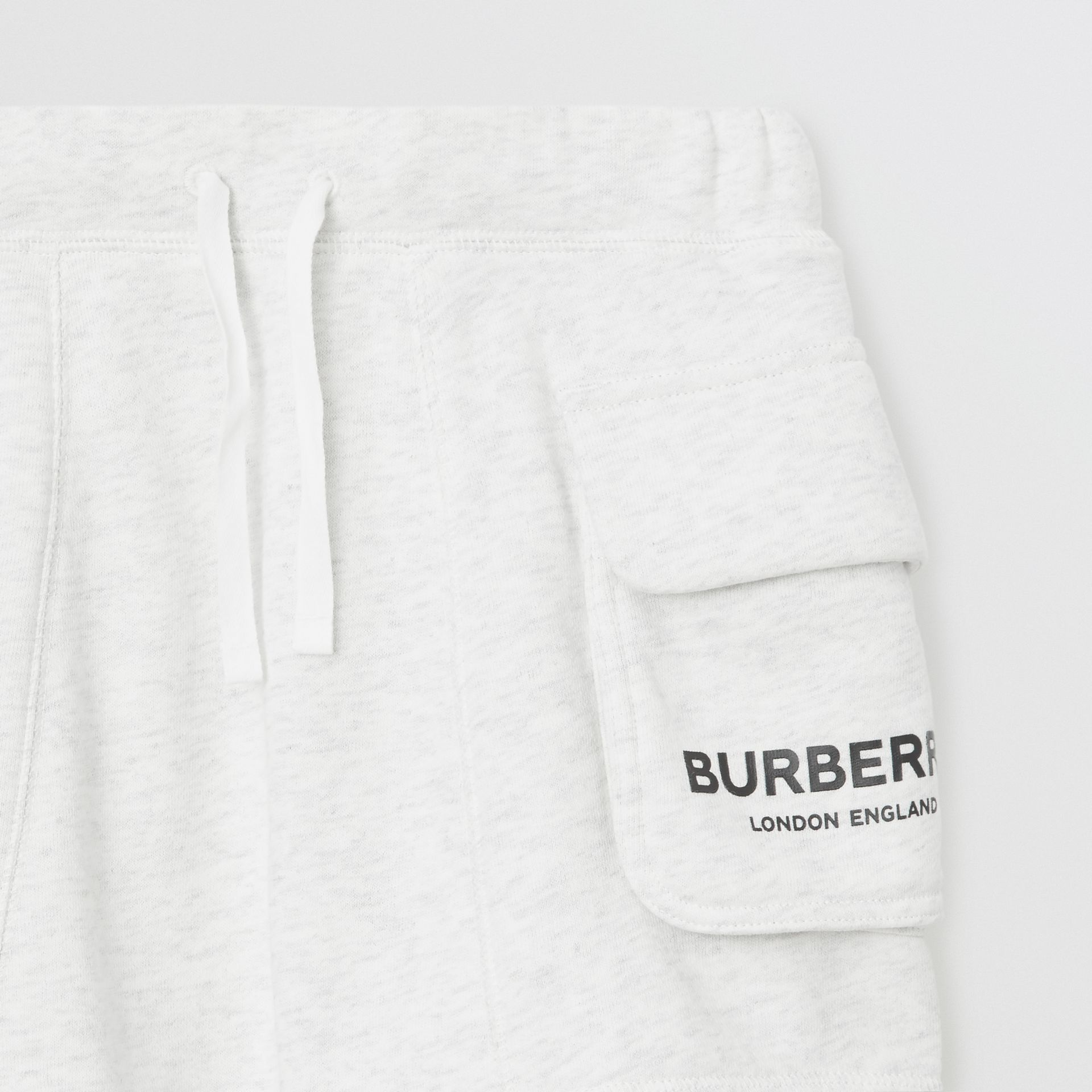 Logo Print Cotton Drawcord Shorts in White Melange | Burberry Singapore - gallery image 4
