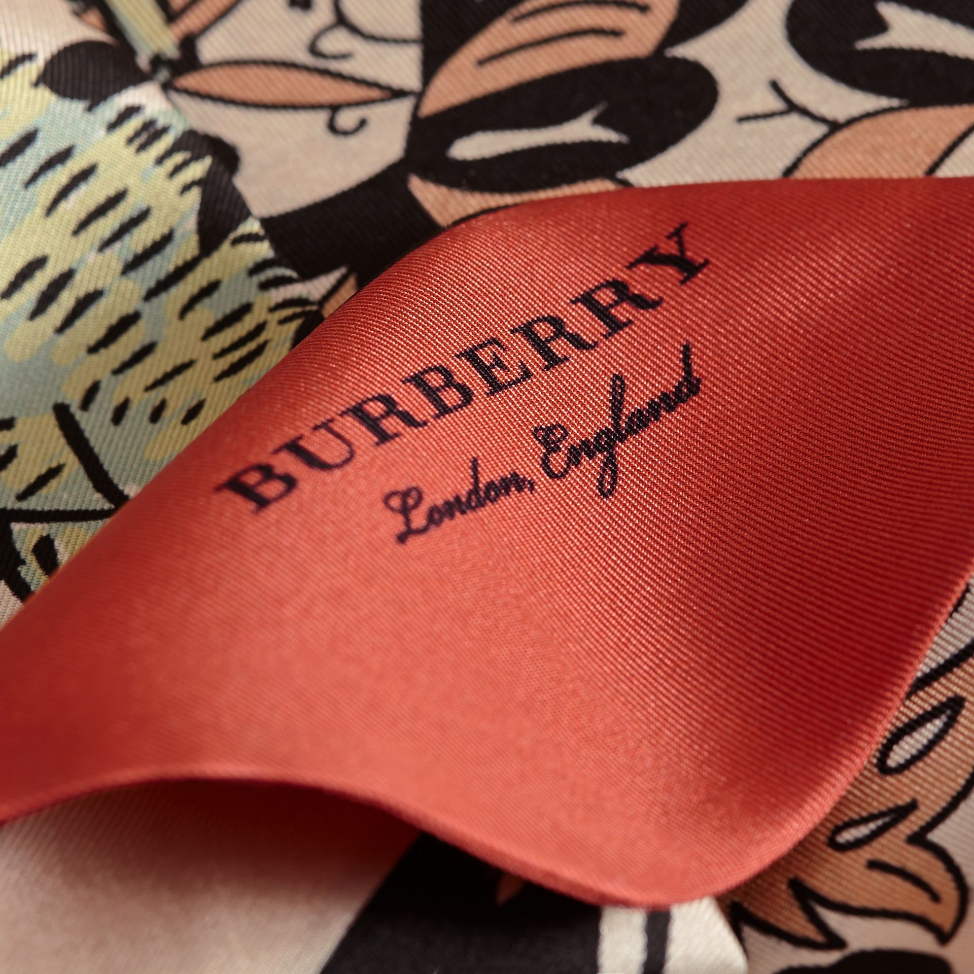 Beasts Print Silk Slim Scarf in Antique Taupe Pink - Women | Burberry - gallery image 2