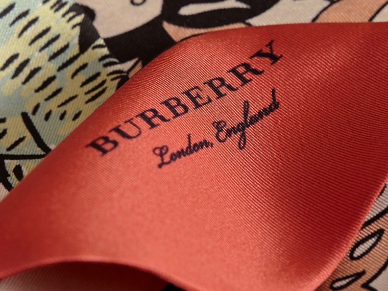 Beasts Print Silk Slim Scarf in Antique Taupe Pink - Women | Burberry Singapore - cell image 1