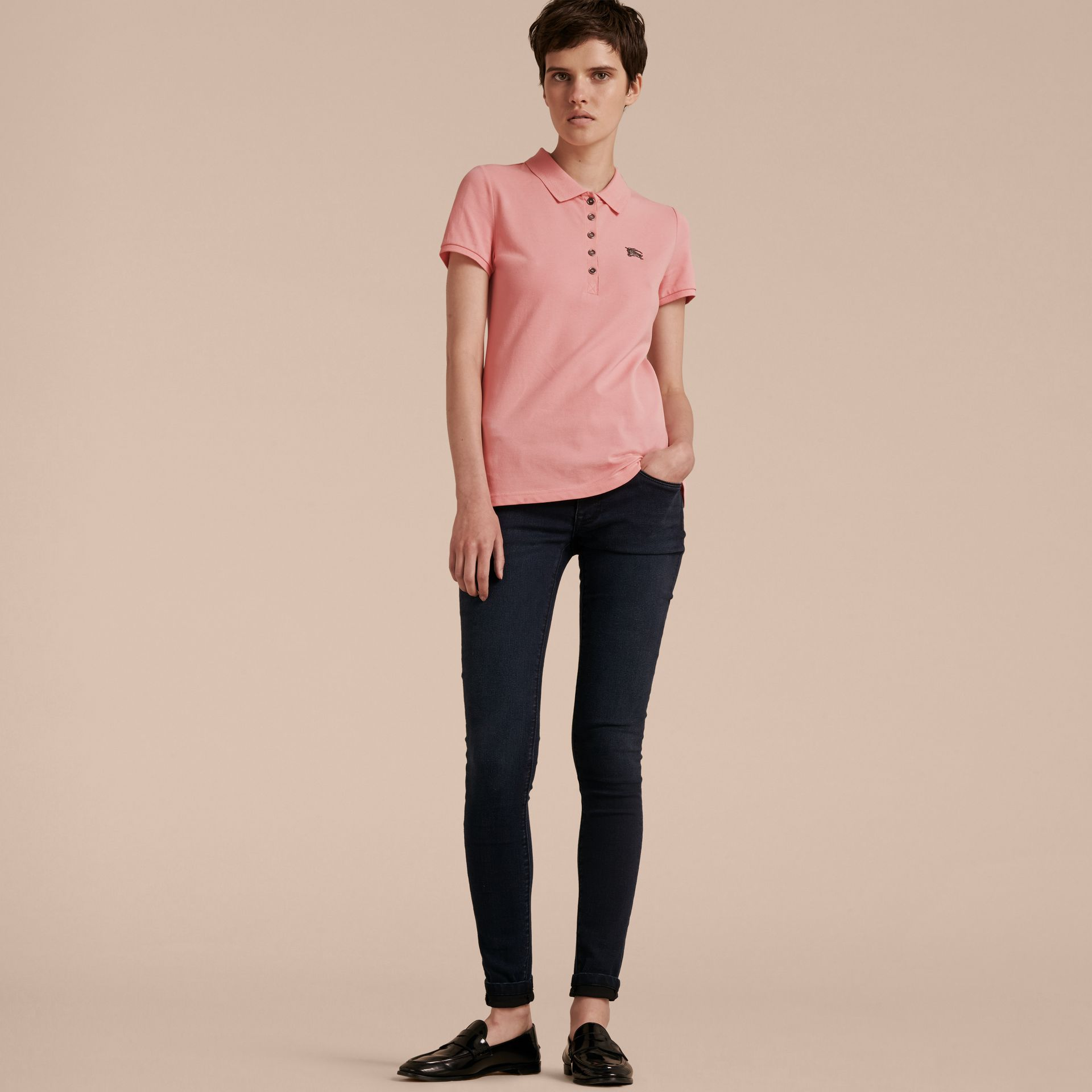 Cotton Piqué Polo Shirt in Carnation Pink - gallery image 6