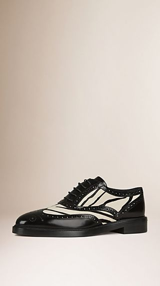 Animal Print Calfskin and Leather Brogues