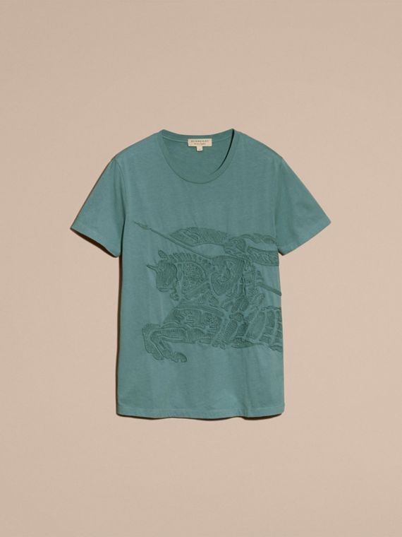 Embroidered Equestrian Knight Cotton T-shirt - cell image 3