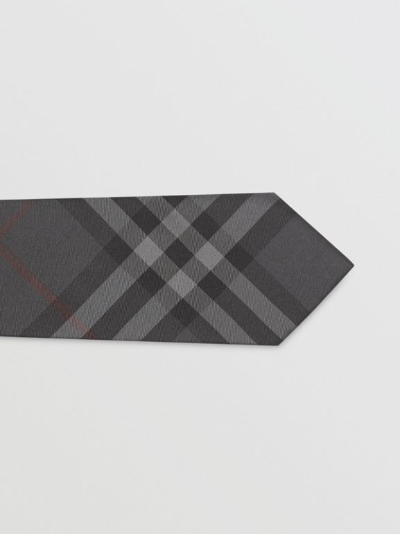 Modern Cut Vintage Check Silk Tie in Dark Charcoal - Men | Burberry Australia - cell image 1
