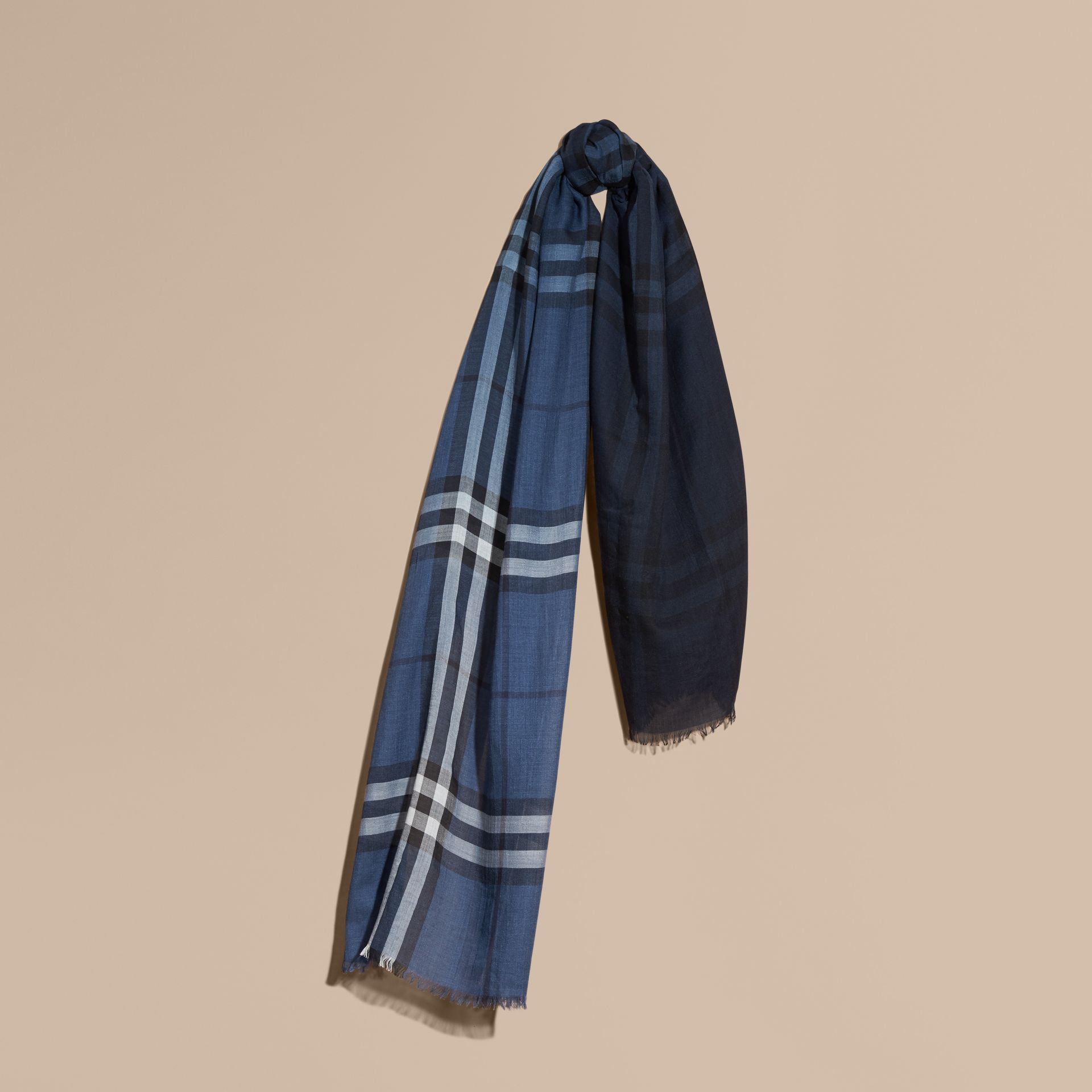 Cadet blue Ombré Check Lightweight Wool Silk Scarf Cadet Blue - gallery image 1