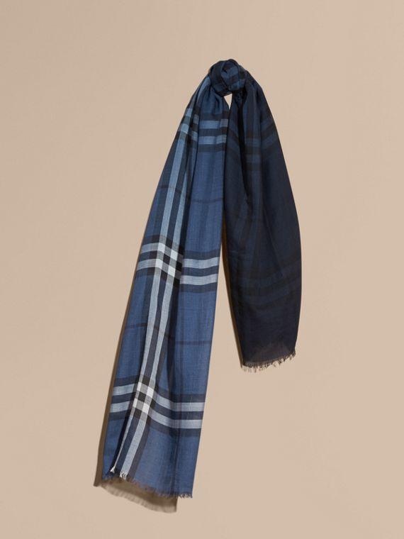 Ombré Check Lightweight Wool Silk Scarf Cadet Blue