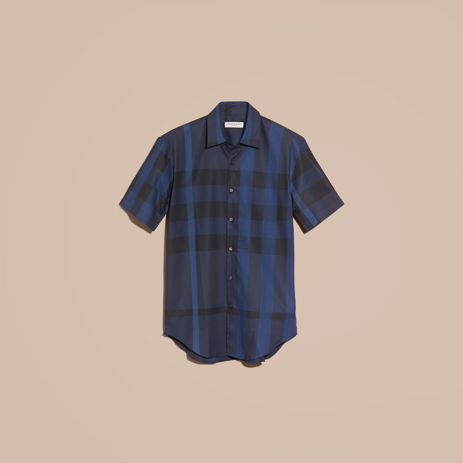 Navy Short-sleeved Check Cotton Shirt Navy - gallery image 4