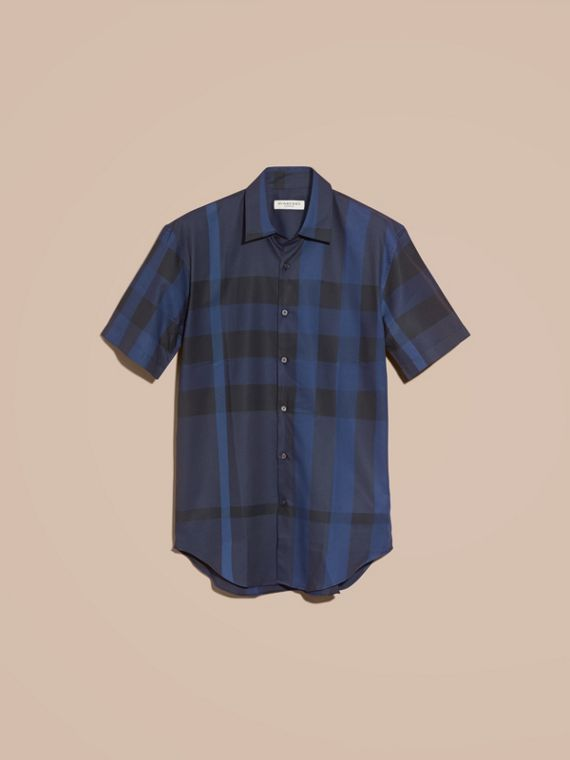 Navy Short-sleeved Check Cotton Shirt Navy - cell image 3