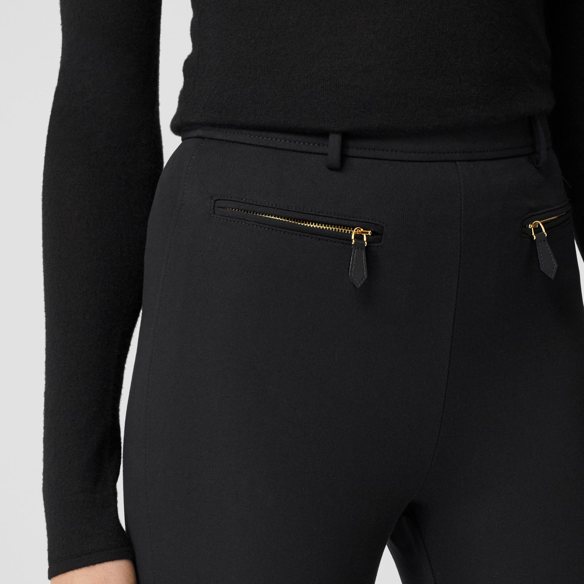 Lambskin Trim Stretch Cotton Blend Trousers in Black - Women | Burberry - gallery image 1