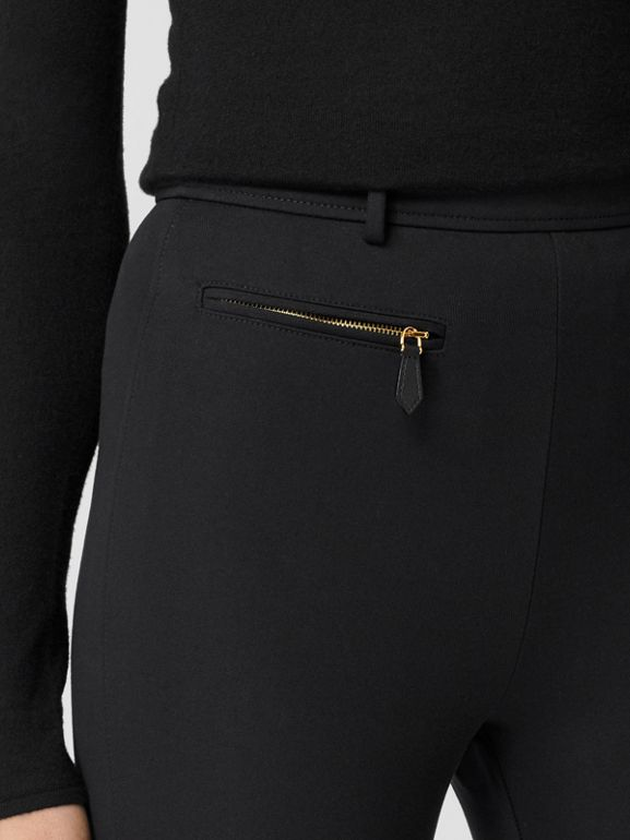 Lambskin Trim Stretch Cotton Blend Trousers in Black - Women | Burberry - cell image 1