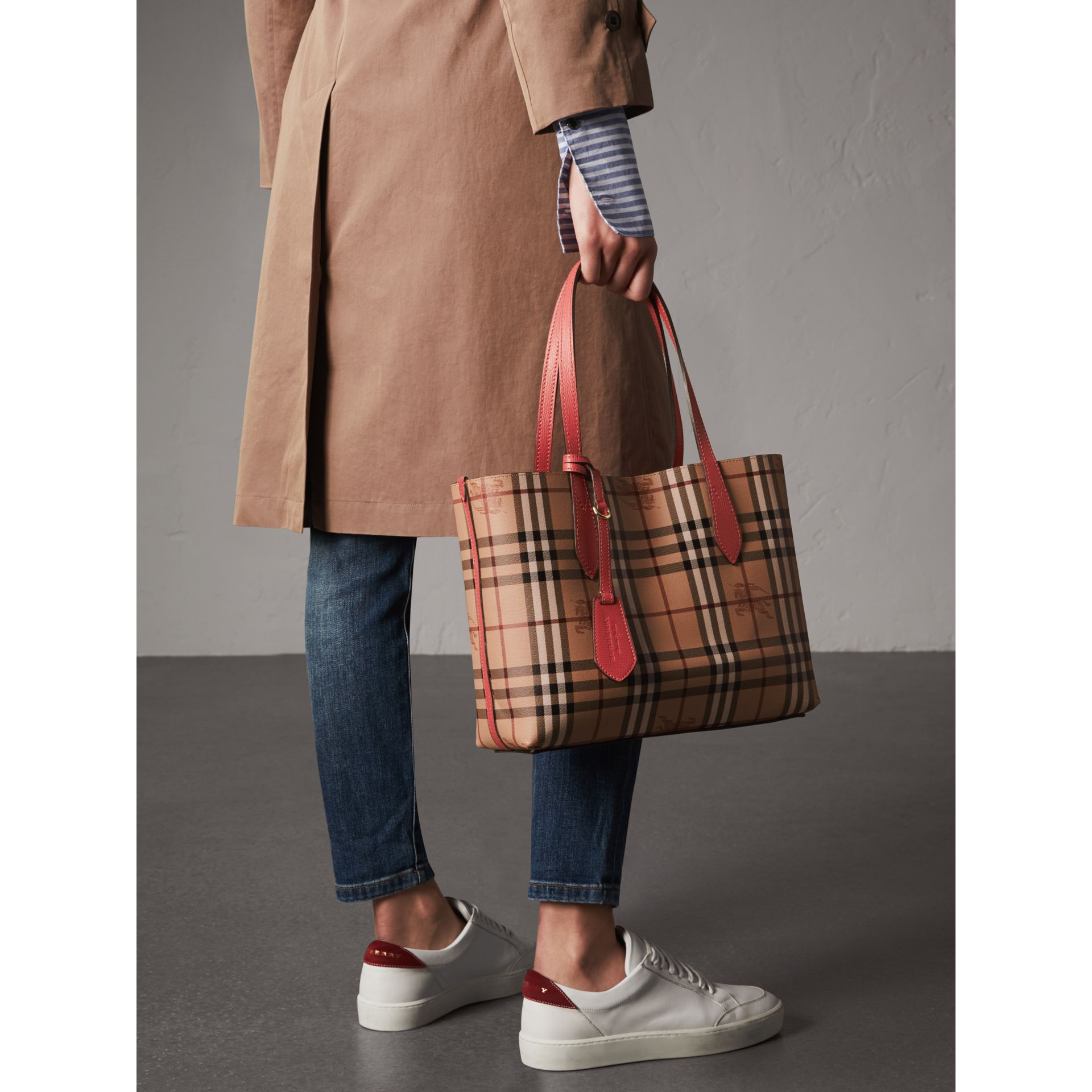 The Small Reversible Tote in Haymarket Check and Leather in Coral Red - Women | Burberry - gallery image 4